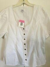 NWT Women's WALDSCHUTZ Bavarian Drindl Blouse NWT Size 42 100% Cotton Picot Trim