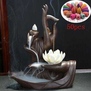 Ceramic Buddha Hand Backflow Incense Burner Lotus Holder Fragrance Stand Decor