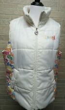 Coogi Womens Puffer Vest Plus Sz 2X White Rainbow Logo Zip Up Lightweight