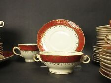 9 Taylor Smith Taylor 6391 Eastern China Cream Soup Bowls & Saucers Red Gold