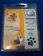 SOFT CLAWS NAIL CAPS FOR CATS ~ Medium 9-13 lbs. ~ 40 Blue Nail Caps + Adhesive