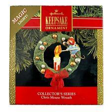 Hallmark Chris Mouse Wreath Magic Light 1990 Vintage Keepsake Ornament