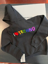 New Balenciaga I Love Techno Embroidered Hoody Hooded Hoodie Sweatshirt XS