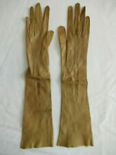 Vintage Elbow Length Tan Kid Leather Ladies Gloves Size 6.25
