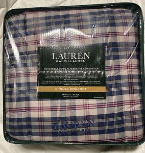 Ralph Lauren Bronze Comfort Plaid TWIN Down Alternative Comforter