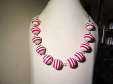 SET OF 3 NEW OLD STOCK PLASTIC NECKLACE PINK WHITE STRIPE BEADS CHAIN LINK 18""
