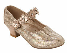 GIRLS ROSE GOLD GLITTER DIAMANTE FLOWER BRIDESMAID WEDDING PARTY SHOES SIZE 10-2