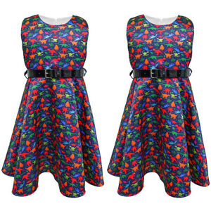 Toddler Girls Sleeveless Round Neck Party Vintage Rockabilly Skater Swing Dress