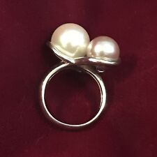 Majorca Triple Pearl Ring Size 7.5 Or 8