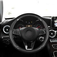 15 inch 38cm Car Non-slip luxury Black Leather Carbon Fiber Steering Wheel Cover