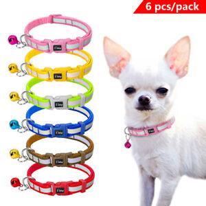 6pcs Puppy Small Dog Collars Wholesale Lot Plastic Buckle Pet Accrssories Bulk