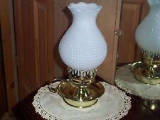 Milk Glass Lamp Vintage Electric Hurricane Night Stand or Desk Light
