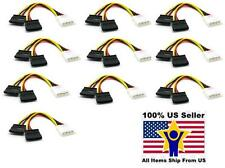 10pcs  Serial 2 X 15 Pin SATA to 4 PIN IDE Molex Power Adapter Cable Cord
