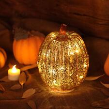 "8.75"" Glass LED Orange Pumpkin Halloween Thanksgiving Holiday Decor w/ Timer"