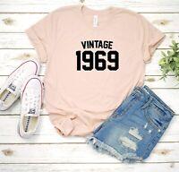 Vintage 1969 50th birthday announcement Custom Women's T Shirt Tee Brand New
