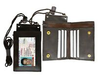 Leather ID Badge Holder Lanyard Neck Strap License Credit Card Bifold Wallet