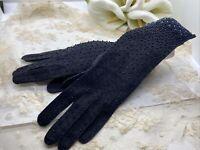 Stunning Vintage Beaded Opera Length Gloves Iridescent Beads Formal 1950s Gorg!