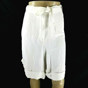 Lane Bryant Size 26/28 Linen Blend Casual Shorts White Tie New With Tags NWT