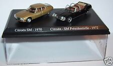 COFFRET ATLAS DUO 2 METAL UH CITROEN SM 1970 BRONZE PRESIDENTIELLE 1972 HO 1/87