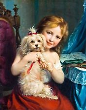 Girl with bichon frisé by Fritz Zuber-Bühler. Canvas Dog Art. 11x14 Print