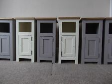 Pair Solid Oak with Grey or Cream Narrow/Slim Bedside Pot Cupboards 27cm width