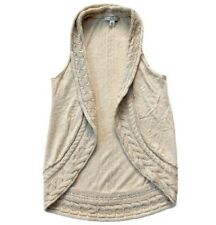 Banana Republic XS Cable Knit Sweater Vest Draped Open Oatmeal Tan Shrug Layer