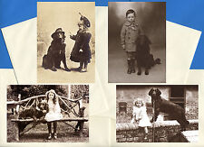 Flat Coated Retriever Pack Of 4 Vintage Style Dog Print Greetings Note Cards #1