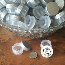 50 Plastic 1/4oz JARS Mini Container 1tsp posh #3301 SILVER Cap Lid DecoJars USA