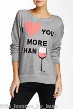 NWT WILDFOX COUTURE I Love You More Than Wine Baggy Beach Jumper Pullover Med M
