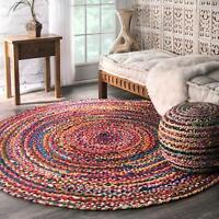 Round Reversible Braided Rug Cotton Chindi Floor Mat Handmade Rug 7x7 Feet