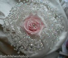 Wedding Flowers Open Rose Cake Topper With Loads of Crystal Beads