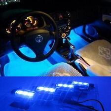 4 X 3 LED Blue 12V DC Car Auto Interior Atmosphere Lights Decor Lamp