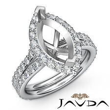 Diamond Engagement Pave Ring Platinum 950 Marquise Semi Mount F-G Color 1.36Ct