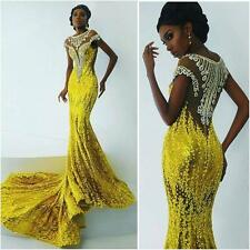 Yellow Mermaid African Evening Dress Luxury Bead Sequins Formal Prom Party Gown