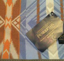 Pendleton Jacquard Coquille River Blue Orange Throw Blanket, Wool, NWT. Free 📦