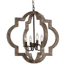 Vintage Retro Iron Wooden Chandelier 4-Light Farmhouse Rust Ceiling Pendant Lamp