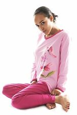 Damen Langarm Pyjama Schlafanzug (DW955) Gr. 38-40 NEU Baumwolle Jersey