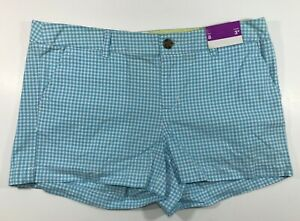 MERONA SHORTS FOR WOMEN COLOR BLUE,WHITE PLAID SIZE 8 NWT 100% COTTON