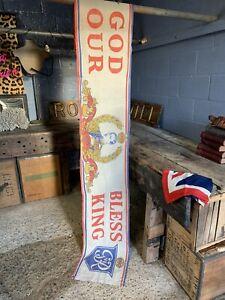 Antique King George VI banner Flag Coronation God Bless Our King 9ft Large Long