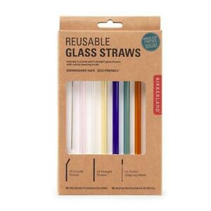 """Kikkerland Reusable 8"""" Colored Glass Straws - Set of 6 with Cleaning Brush"""