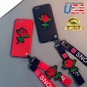 Luxury Embroidery Rose🌹 Flower Neck Strap Soft case Cover Fits Apple iPhone