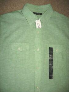 Mens NWT Green BANANA REPUBLIC Linen Blend Short Sleeve Shirt Large