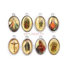 10Pcs Catholic Religious Crosses Enamel Medals Charms  Pendants 29mm