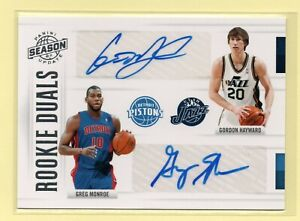 2010-11 Panini Season Update ROOKIE DUALS Gordon Hayward & Monroe #/99 RC AUTO