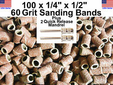 """100 x 60 Grit 1/4"""" Sanding Drums Bands w/2 3/32"""" Mandrel DRILL BITS ROTARY TOOL"""