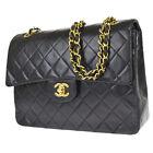 CHANEL CC Logo Double Flap Matelasse Chain Shoulder Bag Leather Black 397R444