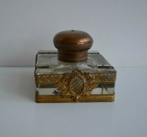 19th Century Beautiful French Ormolu and Crystal Inkwell