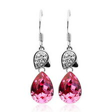 18K White Gold Filled PINK Crystal Teardrop Dangle Wedding Earring XE52