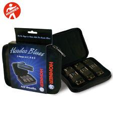 NEW Hohner Hoodoo Blues Harp Harmonica 3-Pack with Zipper Case Keys C,D,G