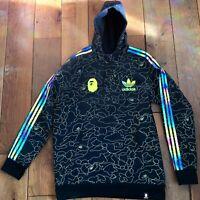 BAPE x Adidas Tech Oversized Black Reflective Hoodie Men's Size L (DU0206) ✅
